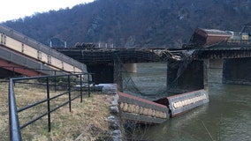 Freight train derails in Harpers Ferry, destroys bridge