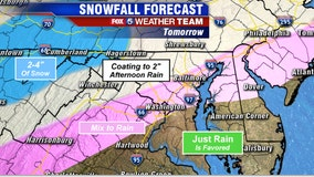 Wintry mix, snow to make Monday morning's commute messy