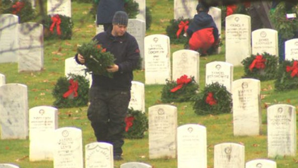 Fallen heroes remembered during Wreaths Across America at Arlington National Cemetery