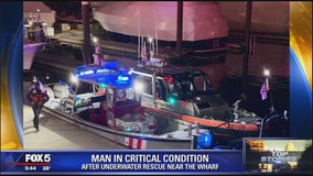 Crews attempt to rescue man from water near the Wharf