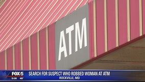Search for suspect who robbed woman at ATM