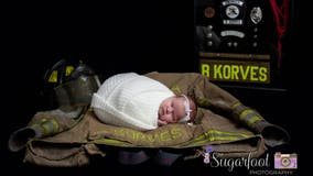 Late firefighter's newborn daughter has moving photo shoot with dad's firehouse brothers
