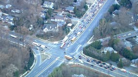Water main break, crash cause delays in Chevy Chase