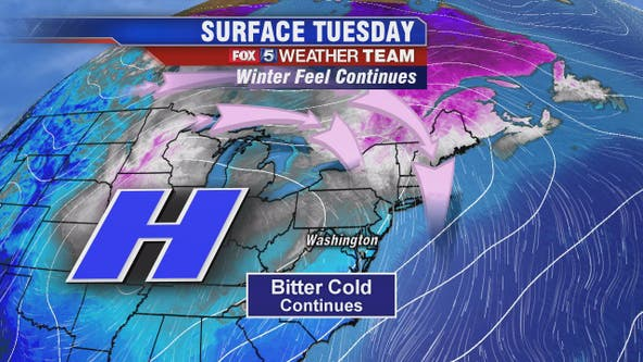 January chill continues Tuesday with temps in the 30s; Saturday storm likely to bring rain to DC region