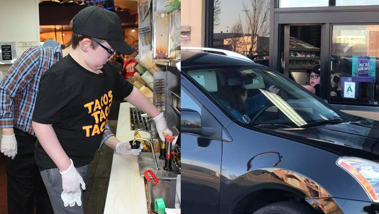 Little boy with brain cancer becomes David Turner Jr., 8, becomes honorary employee at Taco Bell.