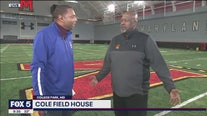 Coach Michael Locksley at UMD's Cole Field House