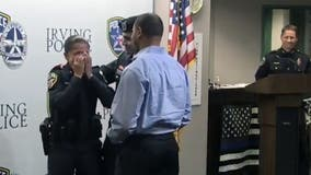 Police officer bursts into tears when military son surprises her at swearing-in ceremony