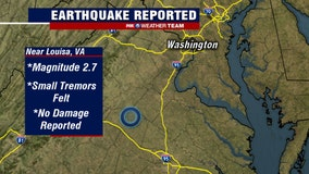 USGS: 2.7 magnitude earthquake reported in Virginia early Monday morning