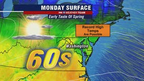 Springlike temperatures in the 60s Monday could bring record warmth to the DC region