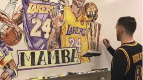 Art teacher pays homage to Kobe, Gianna Bryant with spectacular mural using dry erase markers
