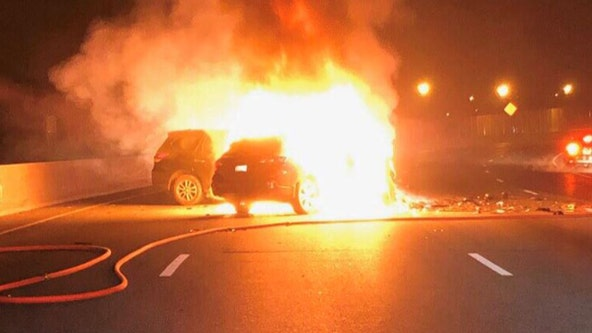 Three hospitalized after fiery Beltway crash