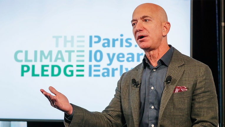 WASHINGTON, DC - SEPTEMBER 19: Amazon CEO Jeff Bezos announces the co-founding of The Climate Pledge at the National Press Club on September 19, 2019 in Washington, DC. (Photo by Paul Morigi/Getty Images for Amazon)