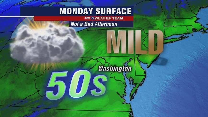 Cloudy, mostly dry Monday with highs in the 50s; midweek showers expected