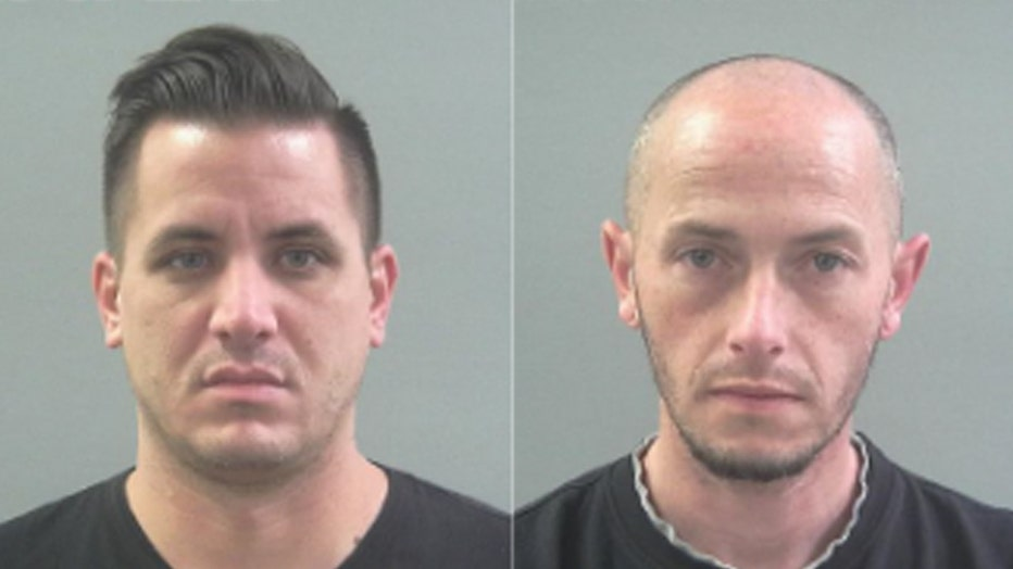 These 2019 photos provided by the Weber County Sheriff's Office show inmate Kaleb Wiewandt, left, and Matthew Belnap. Wiewandt shaved his head to look like Belnap, authorities say.