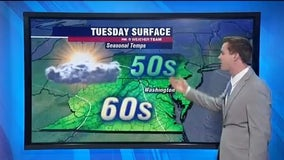 Dry, partly sunny Tuesday with highs near 60 degrees