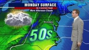 Morning sun with afternoon clouds and highs in the 50s Monday