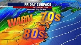 Warm, possible showers Friday as first full day of spring brings highs near 80 degrees