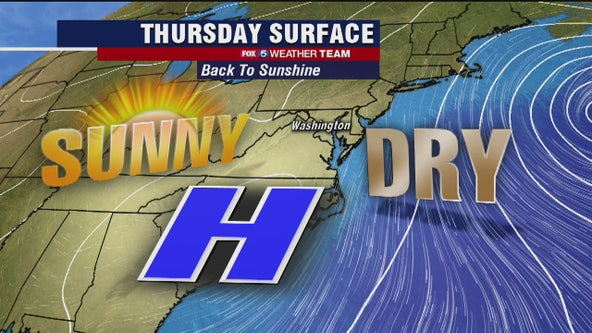 Sunny, dry and mild Thursday with temperatures in the 60s