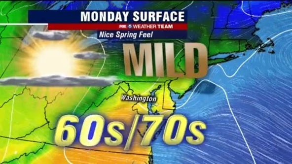 Sunny, dry and mild Monday with highs near 70 degrees