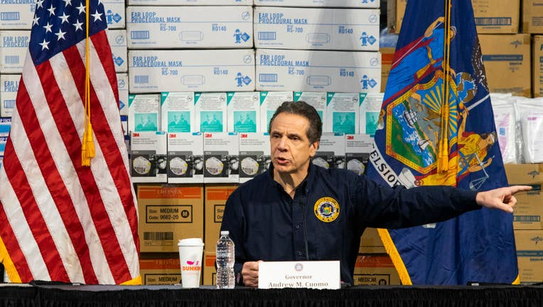 New York Gov. Andrew Cuomo speaks to the media at the Javits Convention Center which is being turned into a hospital to help fight coronavirus cases on March 24, 2020 in New York City. New York City has about a third of the nation's confirmed coronavirus cases, making it the center of the country's outbreak.