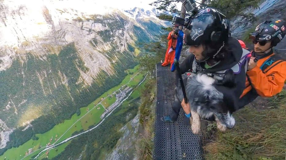 Friend and filmmaker Jokke Sommer, 33, recently recorded the pair plunging from a cliff in Lauterbrunnen, Switzerland.
