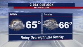 Mostly cloudy skies Sunday with chance of afternoon thunderstorms