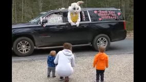 Easter Bunny abides by social distancing guidelines, surprises children amid COVID-19 pandemic