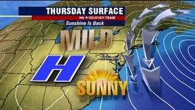 Sunny Thursday with seasonal highs near 60 degrees