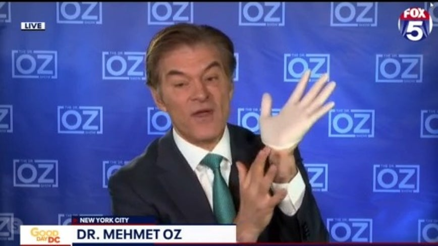 Dr. Oz shows you how to safely remove your gloves
