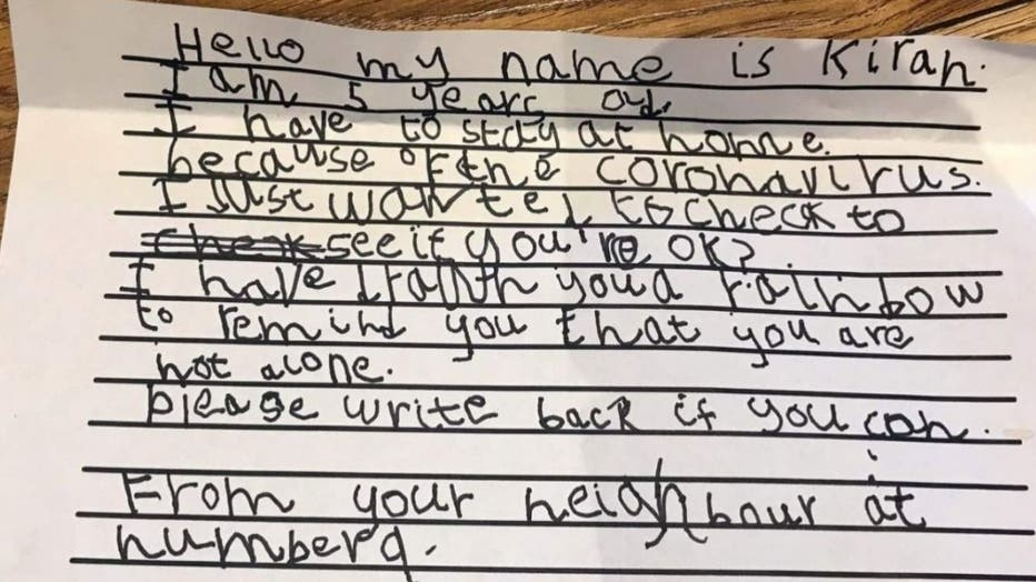 5-year-old Kirah writes letter to 93-year-old neighbor to check up on him during quarantine.