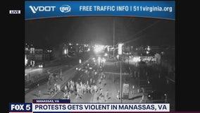 'Unruly crowd' hurls rocks, bricks at police in Manassas; 2 officers injured