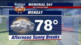 Sunny afternoon with highs in the upper-70s for Memorial Day