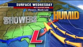 Humid, cloudy with evening showers Wednesday