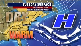 Dry, warm and humid Tuesday with highs near 80 degrees
