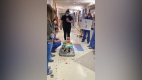 Baby boy gets confetti party from medical staff after final round of chemotherapy