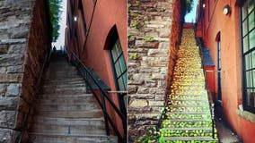 'Exorcist Steps' in Georgetown adorned with thousands of origami