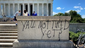 Protesters deface World War II Memorial and other National Mall monuments