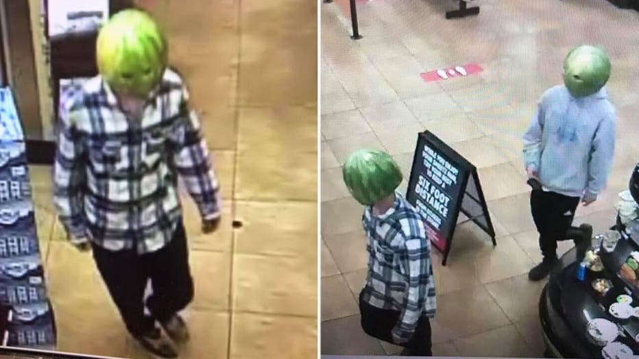 A Virginia police department released photos of two larceny suspects who they said pulled off the crime while wearing hollowed-out watermelon rinds with holes cut out for the eyes.