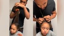 Mom teaches son how to braid daughter's hair