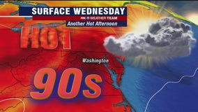 July heat continues Wednesday with highs in the mid-90s; isolated storms possible