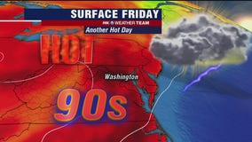 New heat streak begins with highs near 95 degrees Friday; scattered thunderstorms possible
