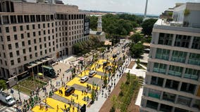 BLM plaza paved over due to planned maintenance; no date given for repainting
