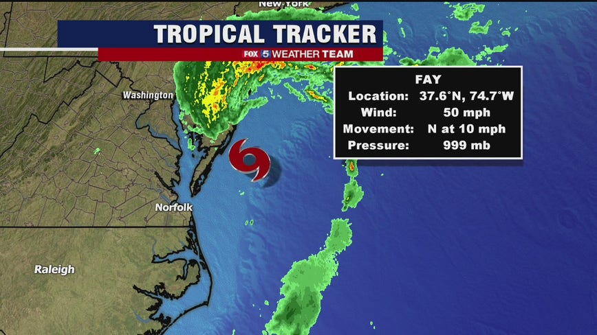 Tropical Storm Fay moves toward mid-Atlantic