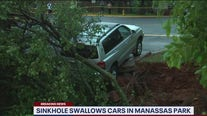 Hundreds stranded in Manassas Park neighborhood after road washed away during storms