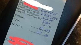 Nebraska restaurant server receives 5-cent tip from customer who wrote 'get rid of masks' on receipt