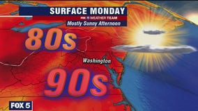 Sunny, hot and humid Monday in the DC region