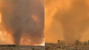 Fire tornado warning grips California as wildfire explodes