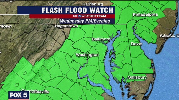 Humid with scattered thunderstorms Wednesday; Flash Flood Watch into the evening
