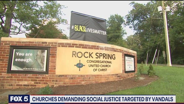 At least 3 Arlington churches demanding social justice targeted by vandals, police say