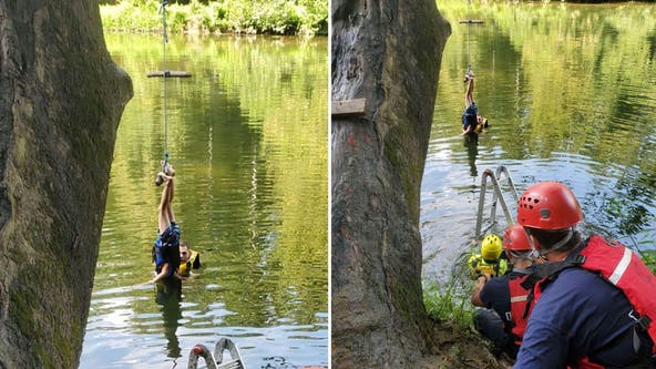 Maryland boy, 6, rescued after getting tangled upside-down in rope swing with head partially in water